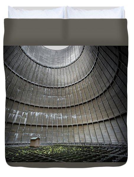 Duvet Cover featuring the photograph Cooling Tower Secret Little House by Dirk Ercken