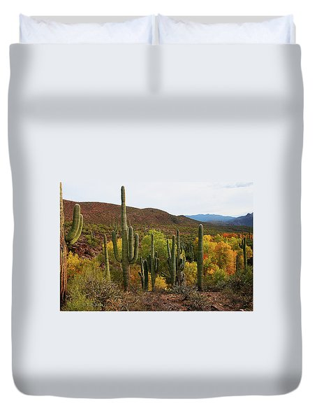 Coon Creek With Saguaros And Cottonwood, Ash, Sycamore Trees With Fall Colors Duvet Cover by Tom Janca