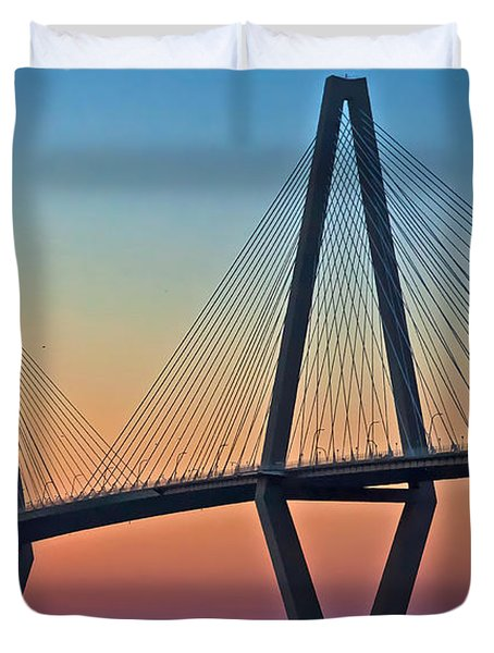 Cooper River Bridge Sunset Duvet Cover