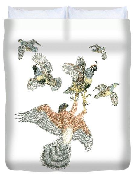 Cooper's Hawk And Gambels Quail Duvet Cover by Tim McCarthy