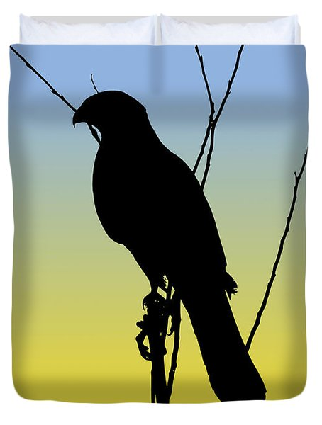 Coopers Hawk Silhouette At Sunrise Duvet Cover