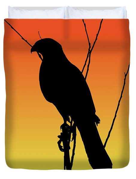 Coopers Hawk Silhouette At Sunset Duvet Cover