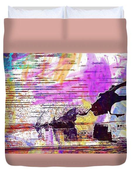 Duvet Cover featuring the digital art Coot Bird Water Bird  by PixBreak Art
