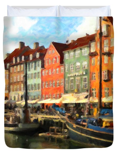 Duvet Cover featuring the painting Copenhagen by Chris Armytage