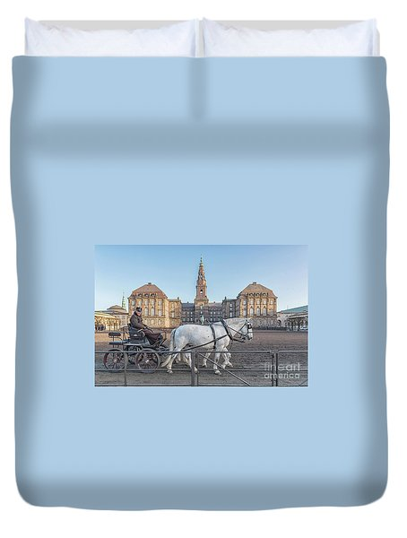 Duvet Cover featuring the photograph Copenhagen Christianborg Palace Horse And Cart by Antony McAulay