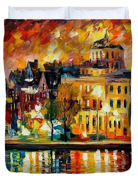 Copenhagen Original Oil Painting  Duvet Cover by Leonid Afremov