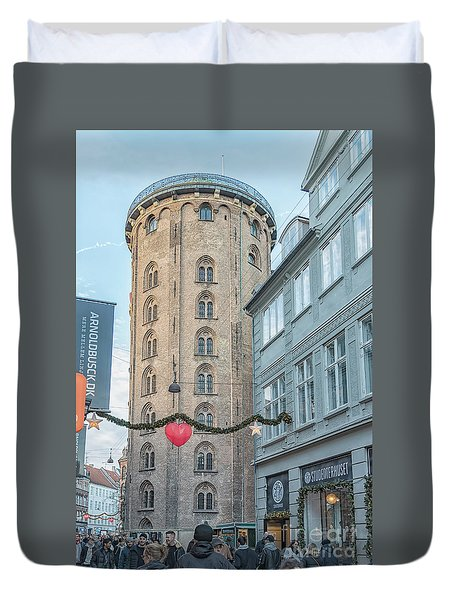 Duvet Cover featuring the photograph Copenhagen Round Tower Street View by Antony McAulay