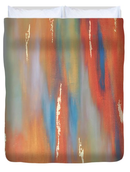 Duvet Cover featuring the painting Copper Abstract 3 by Michelle Joseph-Long