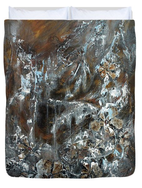 Duvet Cover featuring the painting Copper And Mica by Joanne Smoley
