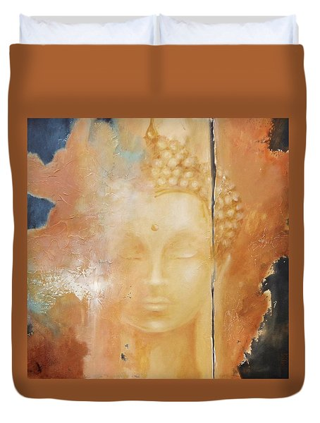 Duvet Cover featuring the painting Copper Buddha by Dina Dargo