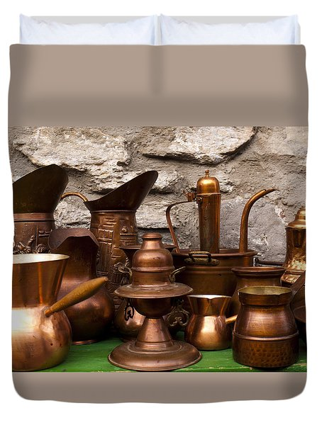 Copper Cookware Duvet Cover by Rae Tucker