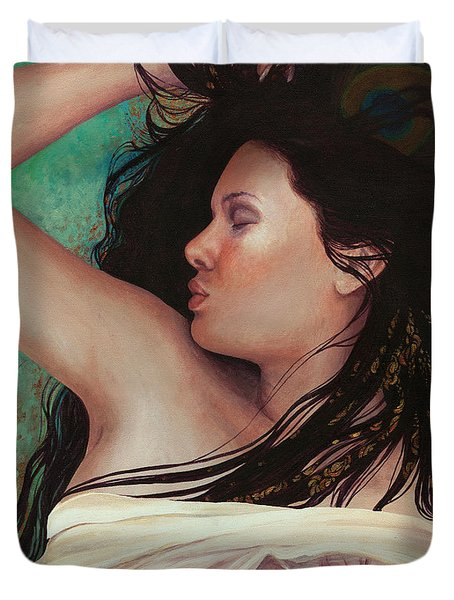 Duvet Cover featuring the painting Copper Dreamer by Ragen Mendenhall