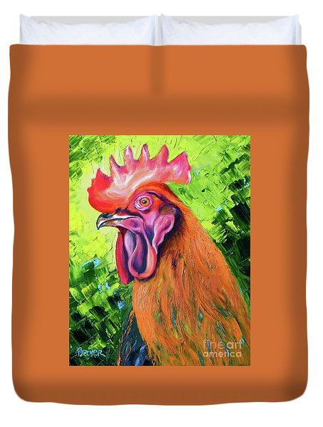 Copper Maran French Rooster Duvet Cover
