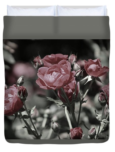 Copper Rouge Rose In Almost Black And White Duvet Cover