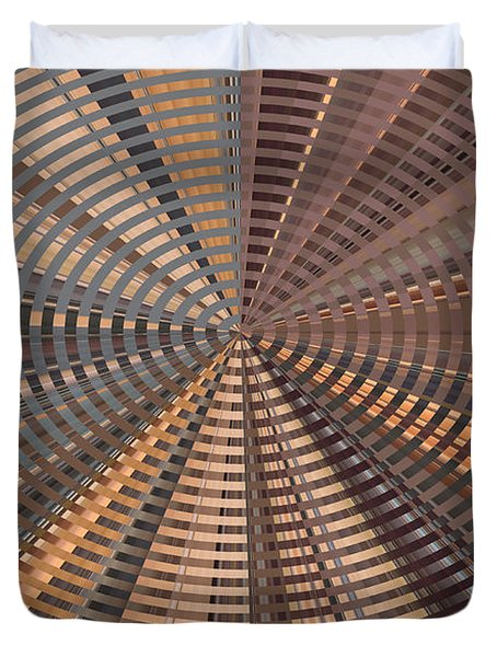 Duvet Cover featuring the photograph Reflecting On A Bright Copper World by Ann Johndro-Collins
