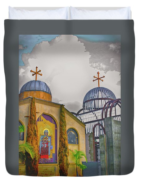 Coptic Church Rebirth Duvet Cover by Joseph Hollingsworth
