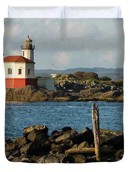 Coquille River Lighthouse Bandon Oregon Duvet Cover