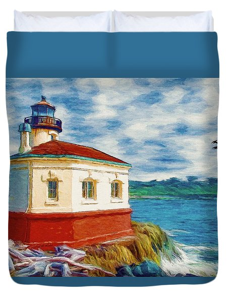 Duvet Cover featuring the painting Coquille River Lighthouse by Jeff Kolker
