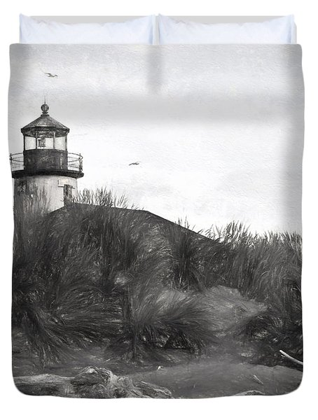 Duvet Cover featuring the photograph Coquille River Lighthouse Oregon Black And White Giclee Art Print by Gigi Ebert