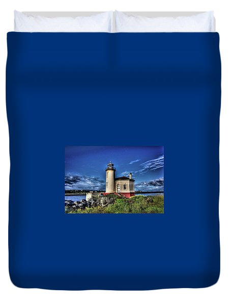 Duvet Cover featuring the photograph Coquille River Lighthouse by Thom Zehrfeld