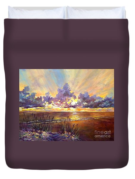 Duvet Cover featuring the painting Coquina Beach Sunset by Lou Ann Bagnall
