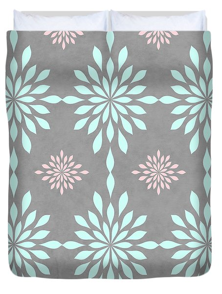 Coral And Turquoise Gray Duvet Cover by Inspired Arts