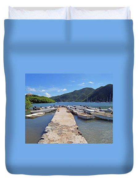 Coral Bay Dinghy Dock Duvet Cover