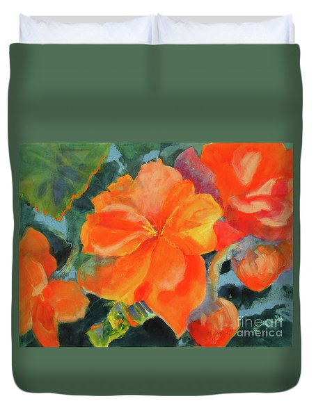 Duvet Cover featuring the painting Coral Begonias by Kathy Braud