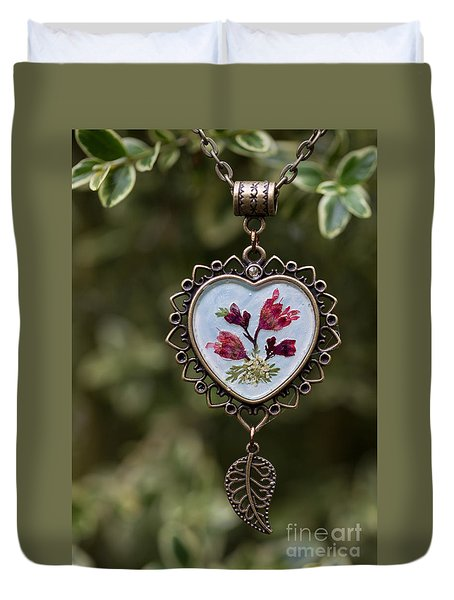 Coral Bell Pressed Flower Pendant Duvet Cover