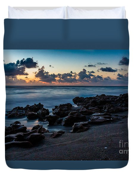 Coral Cove At Sunrise Duvet Cover by Darleen Stry