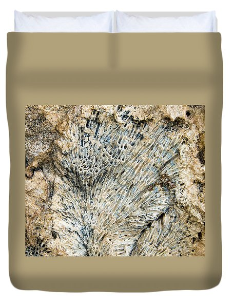 Duvet Cover featuring the photograph Coral Fossil by Jean Noren