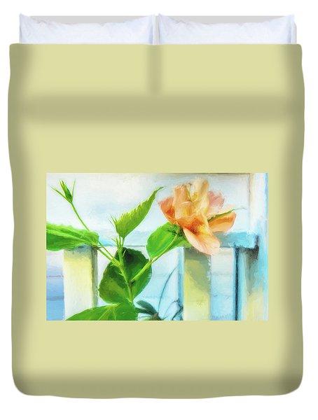 Coral Hibiscus Cezanne Duvet Cover