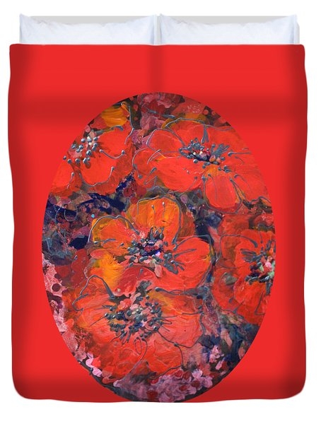 Coral Poppies Duvet Cover