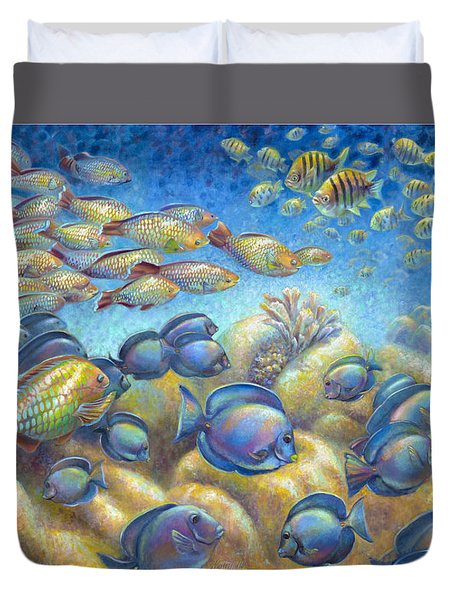 Coral Reef Life Silvers Duvet Cover