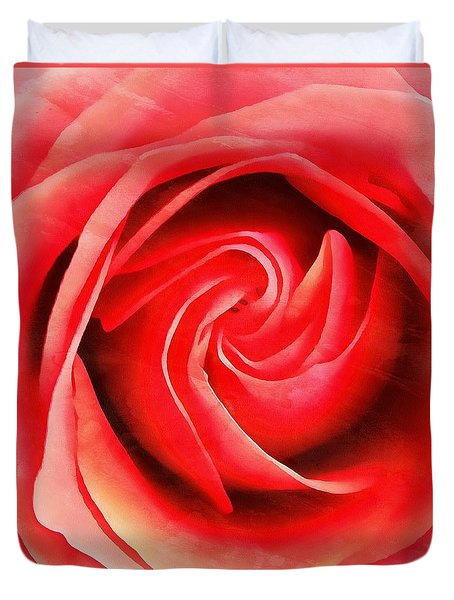 Duvet Cover featuring the photograph Coral Rose - My Pleasure - Rose by Janine Riley