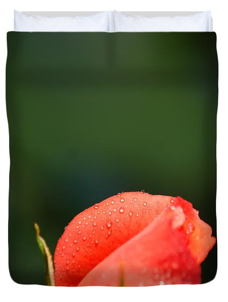 Coral Rose On Green Duvet Cover