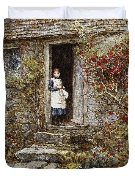 Corcorus Japonica Duvet Cover by Helen Allingham