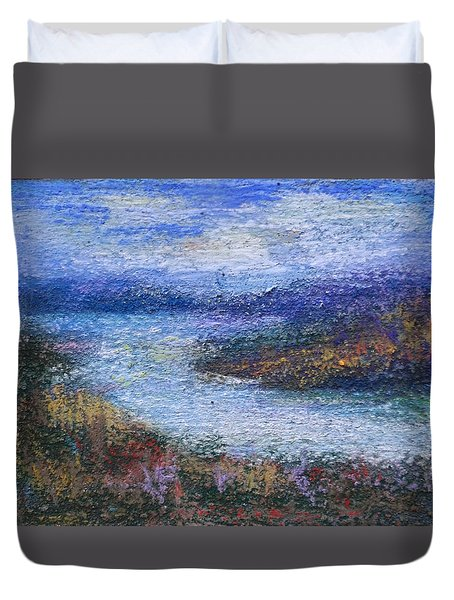 Duvet Cover featuring the painting Cordell Hull Lake by Carol Berning