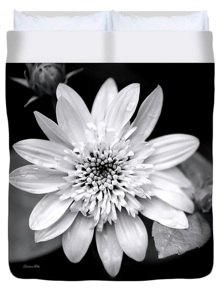 Duvet Cover featuring the photograph Coreopsis Flower Black And White by Christina Rollo