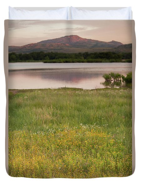 Corepsis Blooming At The Quanah Parker Lake Duvet Cover by Iris Greenwell