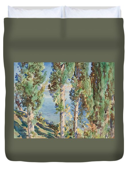 Corfu Cypresses Duvet Cover