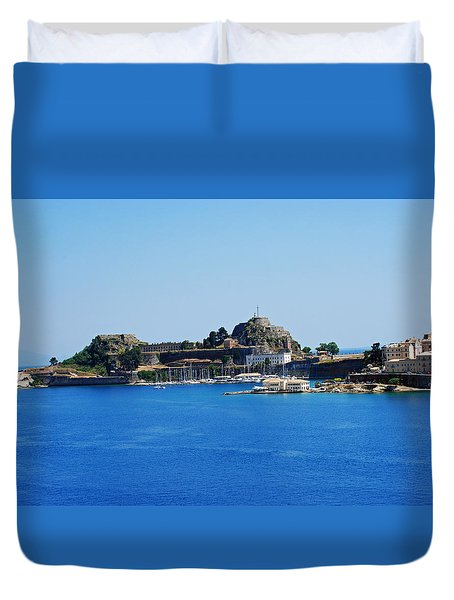 Corfu Fortress On Blue Water Duvet Cover by Robert Moss