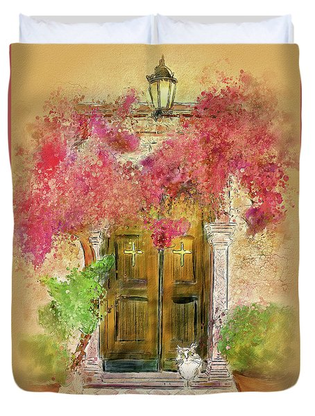 Duvet Cover featuring the digital art Corfu Kitty by Lois Bryan
