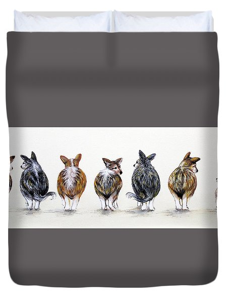Corgi Butt Lineup With Chihuahua Duvet Cover by Patricia Lintner
