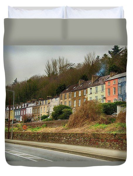 Duvet Cover featuring the photograph Cork Row Houses by Marie Leslie