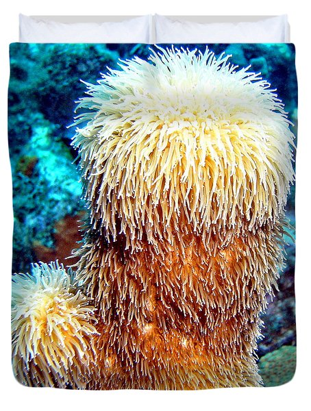 Duvet Cover featuring the photograph Corky Sea Finger Coral - The Muppet Of The Deep by Amy McDaniel
