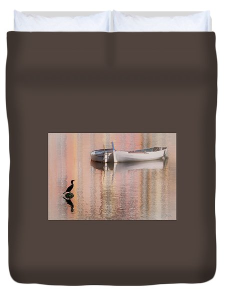 Cormorant And Boats Duvet Cover