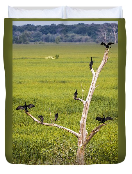 Duvet Cover featuring the photograph Cormorant At Horicon Marsh by Ricky L Jones