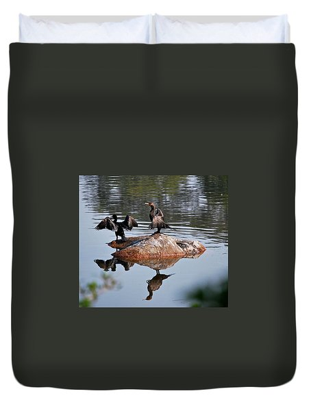 Cormorant Duo Reflections  Duvet Cover