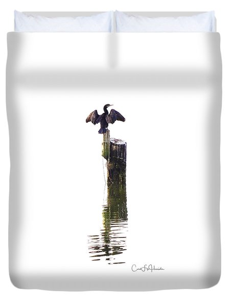 Cormorant Sunning Duvet Cover